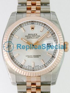 Rolex Datejust Mens 116231 automatico in oro rosa Lunetta Argento Dial Mens Watch